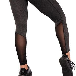Pants - Gray Mesh Caged High Waist Leggings